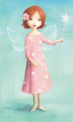 Card pink dress fairy by Stephen Mackey