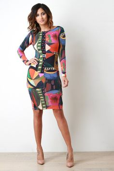 Abstract Painted Print Long Sleeve Bodycon Dress – Style Lavish