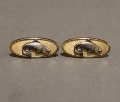Vintage #Gold #Bass #Fish #Cufflinks Mens Mans Accessory Gift Idea Marked Foster USA