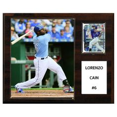 C and I Collectables MLB 15W x 12H in. Lorenzo Cain Kansas City Royals Player Plaque - 1215LCAIN