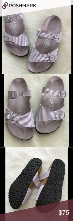 Birkis by Birkenstock Tahiti Sandals NIB New in Box. Soft Lavender & White Birkenstock Shoes Sandals