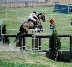 Cross country ditch and rails,  Therese Washtock and Aristotle, North Georgia Olympic selection trials