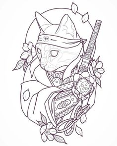 Cat samurai sketch