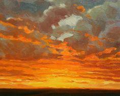 Impressionist Plein Air Sunset Painting in Southwest Arizona Desert.
