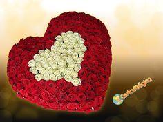 Coração com rosas importadas Cesta Mágica