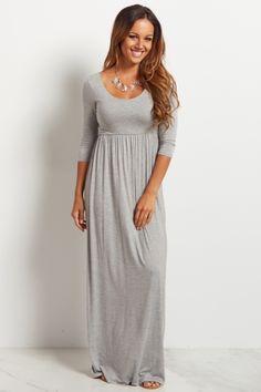 Grey 3/4 Sleeve Maxi Dress