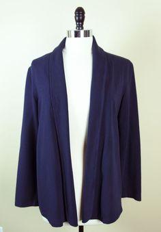 CHARTER CLUB Size M Navy Blue Sweat Shirt Cardigan Top EUC #CharterClub #Sweatshirt