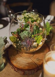 rustic succulent wedding centerpiece / http://www.himisspuff.com/rustic-wedding-centerpiece-ideas/17/