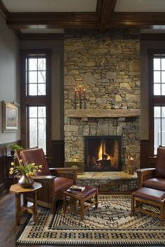 The Architectural Studio is a full service Architectural & Interiors firm which specializes in vacation, luxury & estate custom homes in North Carolina. Cabin Fireplace, Rustic Fireplaces, Fireplace Remodel, Fireplace Design, Fireplace Makeovers, Fireplace Mantles, Stacked Stone Fireplaces, Fireplace Stone, Mantels