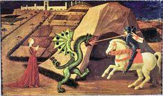 Saint Georges et le dragon (version de Paris) - Paolo UCCELLO - Détrempe sur bois - 1439/1440 - Musée Jacquemart-André, Paris, France
