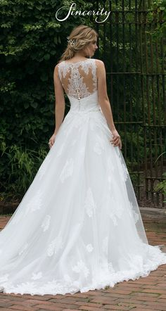010d534447c65 Style 44042  Allover Lace Illusion Gown with Detachable Train