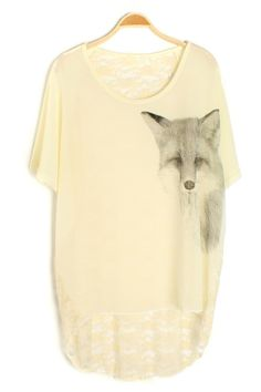 Fox Graphic Lace Back Tee - OASAP.com