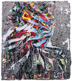 """Oeuvre murale sur acier Dimension : 31""""X 36"""" Techniques mixtes: gravure artisanale de l'acier - art digital - peinture  ------------------------------  Artwork on steel Size: 31"""" X 36"""" Artisanal steel engraving - digital art - painting Blind Dates, Gravure, Artisanal, Oeuvre D'art, Les Oeuvres, Blinds, Artwork, Creations, Steel"""