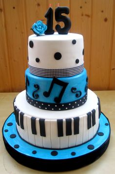 Marvelous Photo of 15 Birthday Cake 15 Birthday Cake Blue Quinceanera Cake Ideas Pastel Blue And White Cake With Music Birthday Cakes, Music Themed Cakes, 15th Birthday Cakes, Creative Birthday Cakes, Homemade Birthday Cakes, Birthday Cake Girls, 15 Birthday, Birthday Ideas, Cake Band