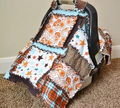 CAR SEAT COVER Nursing Cover Rag Quilt Baby by avisiontoremember, $70.00