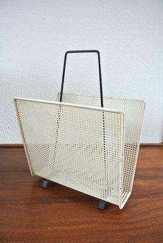 Vintage perforated metal magazine rack 1950's Tomado Pilastro artimeta Mategot