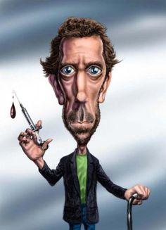 Funny Caricatures, Celebrity Caricatures, Funny Cartoon Faces, Cartoon Art, Hugh Laurie, Caricature Drawing, Wow Art, Portraits, Cultura Pop