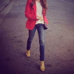 Bright blazer + skinny jeans
