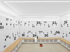 Century Fox Casts Gensler for a Marquee-Worthy Update to its New York Headquarters Office Space Design, Gym Design, School Design, Pool Changing Rooms, Office Lockers, Locker Designs, 21st Century Fox, Gym Interior, Interior Design Magazine