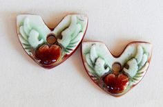 Handmade Ceramic Earring charms heart red  lime and silver