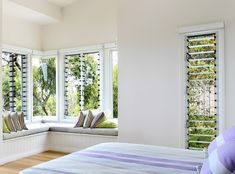 For the wall of the retreat above loft area? Style At Home, Louvre Windows, Modern Window Treatments, Bedroom Windows, Bedroom Curtains, House Layouts, Home Decor Bedroom, Cheap Home Decor, New Homes