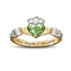 Love, Loyalty & Friendship Reflections Of Ireland Color-Changing Claddagh Ring by The Bradford Exchange, (claddagh ring, green amber, amber, celtic, claddagh, irish, claddaugh ring, rings, baltic amber, green amber irish ring)