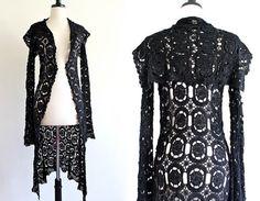90s Black Crochet Cape Draped Goth Steampunk by LuvStonedVintage, $75.00
