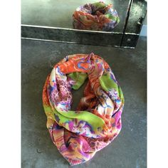 Anthropologie Infinity Scarf Colorful infinity scarf. Made of 90% Viscose, 10% Silk. Lightly used. Has been recently dry cleaned. Anthropologie Accessories Scarves & Wraps