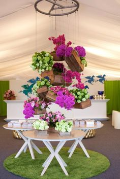 Colourful flower feature cake/dessert table