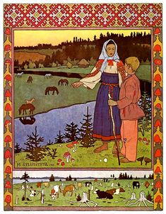 "Ivan Bilibin, illustration from a fairy tale ""Sister Alyonushka and brother Ivanushka"", 1901."