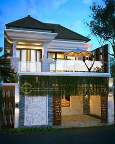 Muntas Private House - Denpasar, Bali- Quality house design of architectural services, experienced professional Bali Villa Tropical designs from Emporio Architect. House Arch Design, Modern House Design, Tropical House Design, Tropical Houses, Beautiful Home Gardens, Beautiful Homes, Classic House Exterior, Asian House, Bali House