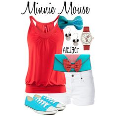 """Minnie Mouse"" ~ Disney's most lovable sweetheart inspired this fresh Spring look. Be sure to show Minnie your bow if you get the chance to meet her, she'll love it!"