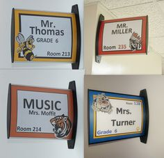 Customizable School Hallway Signs: These would be GREAT to put these double-sided signs outside classrooms for TEACHER APPRECIATION or BACK TO SCHOOL and all year long so students, staff, and guests feel more welcome and can find the classrooms better. All you have to do is make up a template on computer, pop it into sign, and put cover on....takes less than 10 seconds to do!!! I like how they are customizable and so easy to update!