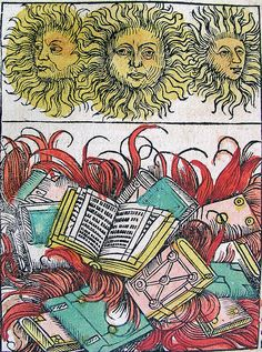 Three Suns & Book Burning. Woodcut made by Michael Wolgemut and Wilhelm Pleydenwurff, Germany, 1493.