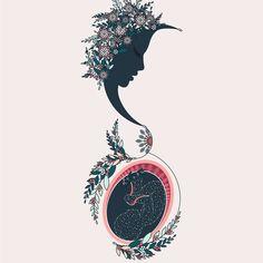 Goddess of Connection - Designs by Duvet Days Anatomy Illustrations - Schwangerschaft Pelvis Anatomy, Lung Anatomy, Heart Anatomy, Brain Anatomy, Anatomy Art, Fetus In Womb, Spiritual Midwifery, Pregnancy Art, Pregnancy Drawing