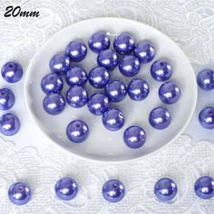 20 mm or Large Faux Pearl Beads - Purple