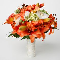 Mango Calla & Tiger Lilies Real Touch Wedding Bouquet