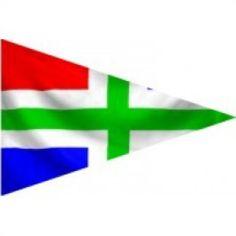 Groningse puntvlag 20x30cm, op schepen vooral gebruikt als geusje op de boeg van het schip Materiaal gemaakt van de beste kwaliteit vlaggenstof met koord en lus rondom gezoomd