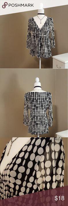 INC Polka Dot Top V-neck , three-quarter length sleeve sheer, elastic empire waist. Bodice fully lined. INC International Concepts Tops