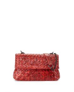 L0LKW Bottega Veneta Olimpia Mini Tobu Snakeskin Crossbody Bag, Cobalt