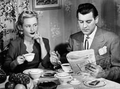 1940S Couple Breakfast Table Impatient Woman Looking At Man Reading Newspaper Stock Photos | Royalty-Free & Rights-Managed Stock Images | SuperStock