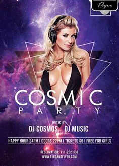 Cosmic Party Flyer PSD V7 Template  Facebook Cover