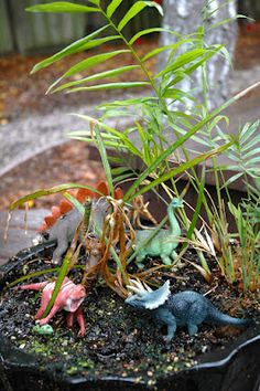 Dinosaur Terrarium / small world Happy Things, Wild Things, Fun Things, Activities For Kids, Crafts For Kids, Small World Play, Classroom Inspiration, Learning Centers, Dinosaurs