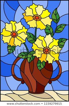Illustration in stained glass style with still life, bouquet of yellow flowers in a ceramic vase on a blue background Stained Glass Quilt, Stained Glass Flowers, Stained Glass Projects, Glass Painting Patterns, Stained Glass Patterns, Mosaic Glass, Glass Art, Illustration, Happy Colors