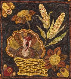 Turkey Delite by Lin Wells - Pattern Only or Complete Rug Hooking