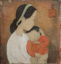 1956 Mother and Sleeping Child by Mai Trung Thu