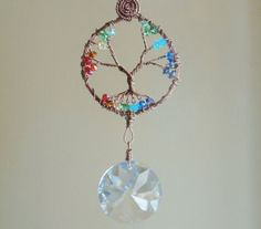Chakra Tree of life crystal suncatcher, crystal ball, Feng Shui cures, balance, window ornament, seven chakras, car ornament, garden