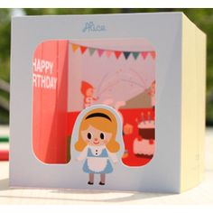 Tarjeta pop-up de cumpleaños Alicia en el País de las Maravillas - Postales / Tarjetas. Alice in wonderland pop-up birthday card