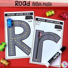 Road alphabet letter mats! Alphabet letter mats - build the letter and write it! Easy way to make learning letters and handwriting fun for preschool, pre-k, and kindergarten #letters #alaphabet #handwriting #preschool #prek #kindergarten Preschool Literacy, Preschool Letters, Kindergarten Activities, Reading Activities, Outdoor Activities, Teaching Handwriting, Teaching The Alphabet, Letter Games, Transportation Theme