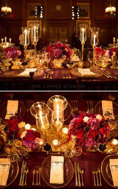 The Colin Cowie team use rich plum and dark burgundy to bring out the beautiful autumnal colors of New York. Wedding Reception, Tabletop Design, Centerpiece, Fall Wedding
